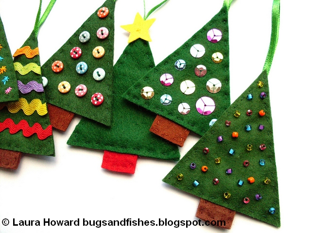 festive tutorial how to make simple felt christmas tree decorations