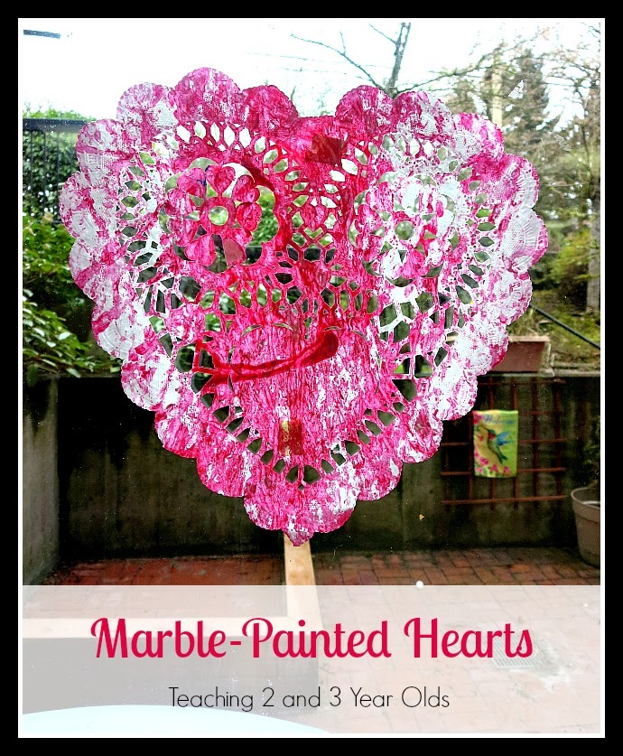 Teaching 2 and 3 Year Olds: Marble-Painted Hearts