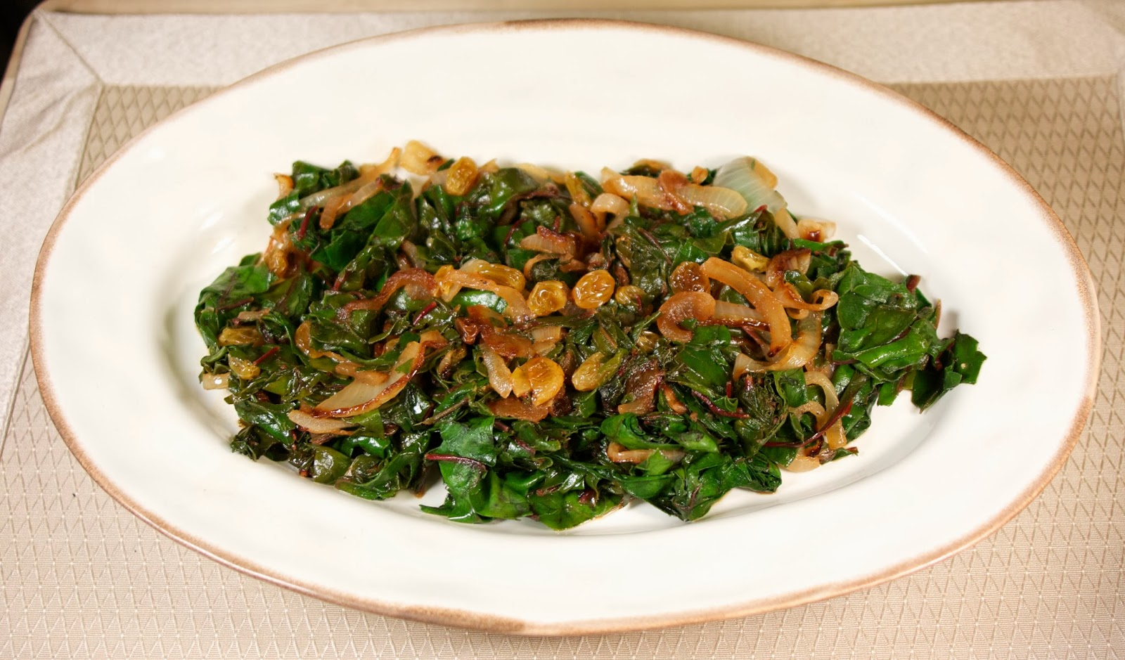 swiss chard w/ golden raisins: simplelivingeating.com
