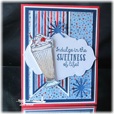 North Coast Creations Stamp set: Ice Cream Shoppe, Our Daily Bread Designs Custom Dies: Pennants, Antique Labels and Border, Asters and Leaves, Our Daily Bread Designs Patriotic Paper Collection