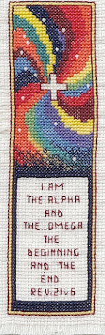 Alpha Omega bookmark Cross-stitch embroidery)