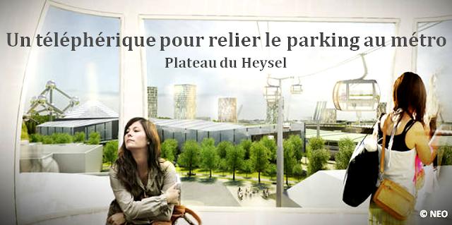 Plateau du Heysel - Bruxelles - Le retour du téléphérique pour relier le parking au site du Heysel et aux stations de métro - Bruxelles-Bruxellons