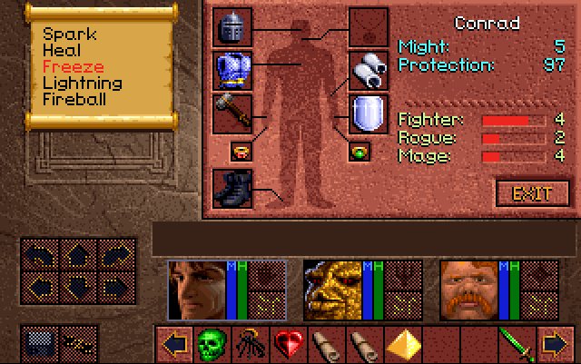 Status screen from Lands of Lore. It shows 3 experience bars for Fighter, Rogue and Mage.