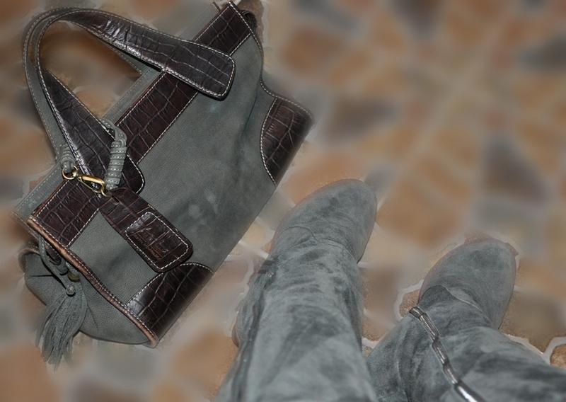 серые замшевые сапоги серая сумка