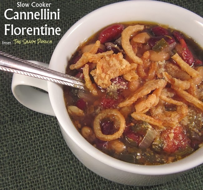 serving of cannellini florentine with crispy french-fried onions
