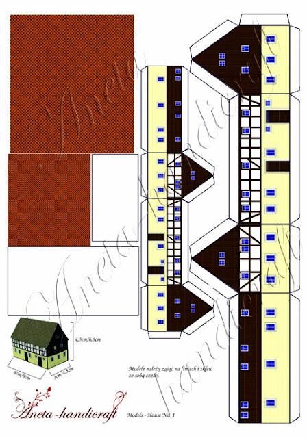 Papier z makietami domków