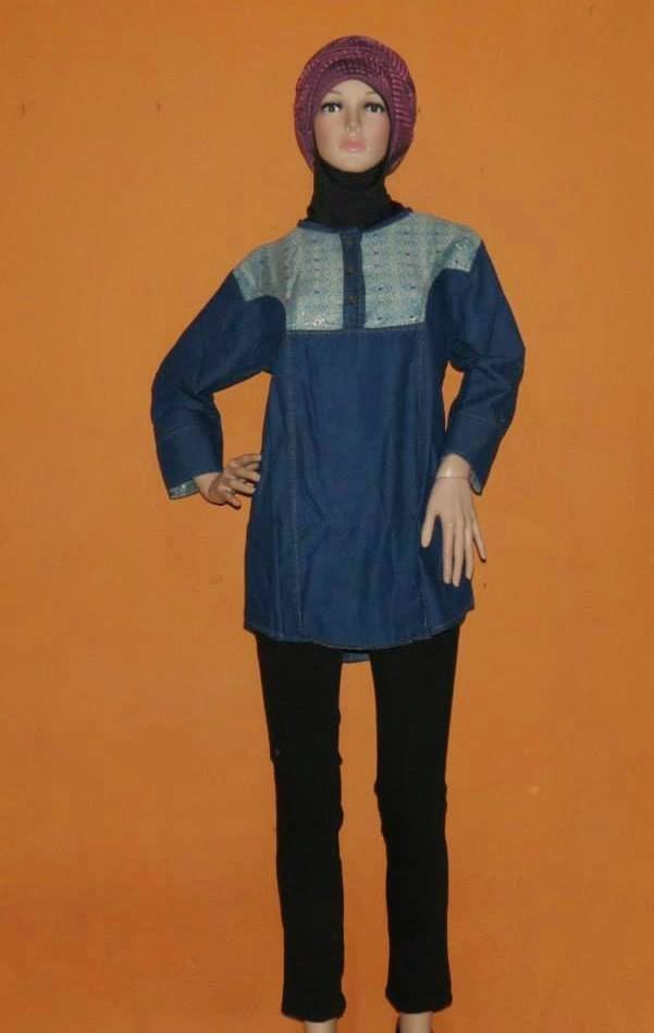 Atasan Jeans Kombinasi Songket AJ944