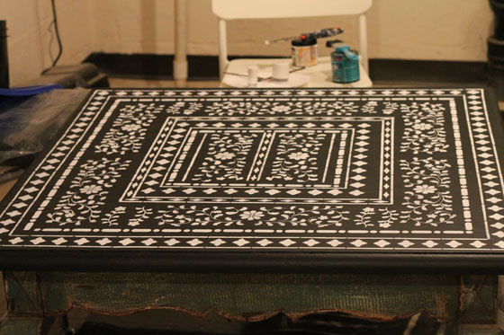 family love home stenciled coffee table