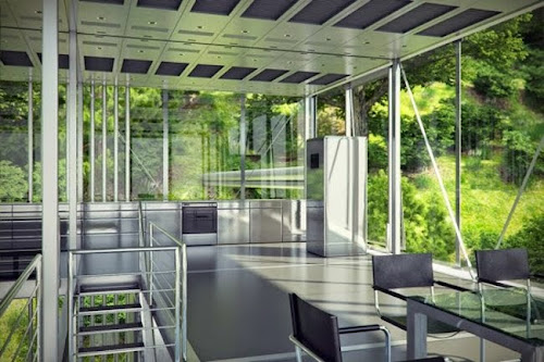 Modern Glass House with Zero-emission
