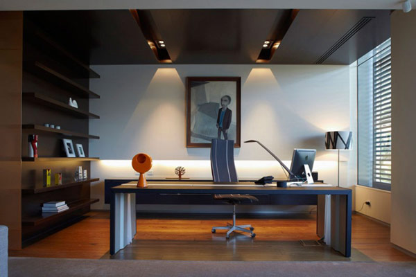 Photo of modern office desk in the home office