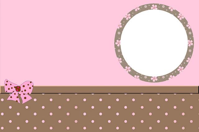 Marrom e rosa – kit completo com molduras para convites rótulos
