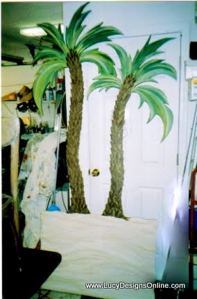 palm tree headboard from sheet of plywood for twin bed