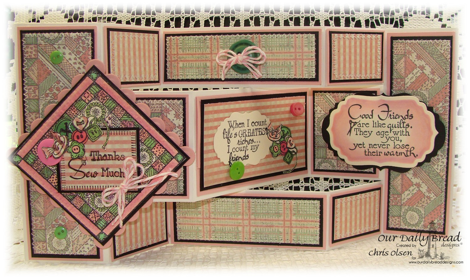 Stamps - Our Daily Bread Designs Quilts, Stitches, ODBD Vintage Labels Die, ODDB Soulful Stitches Paper Collection, ODBD Fun and Fancy Fold Tri-Shutter Card
