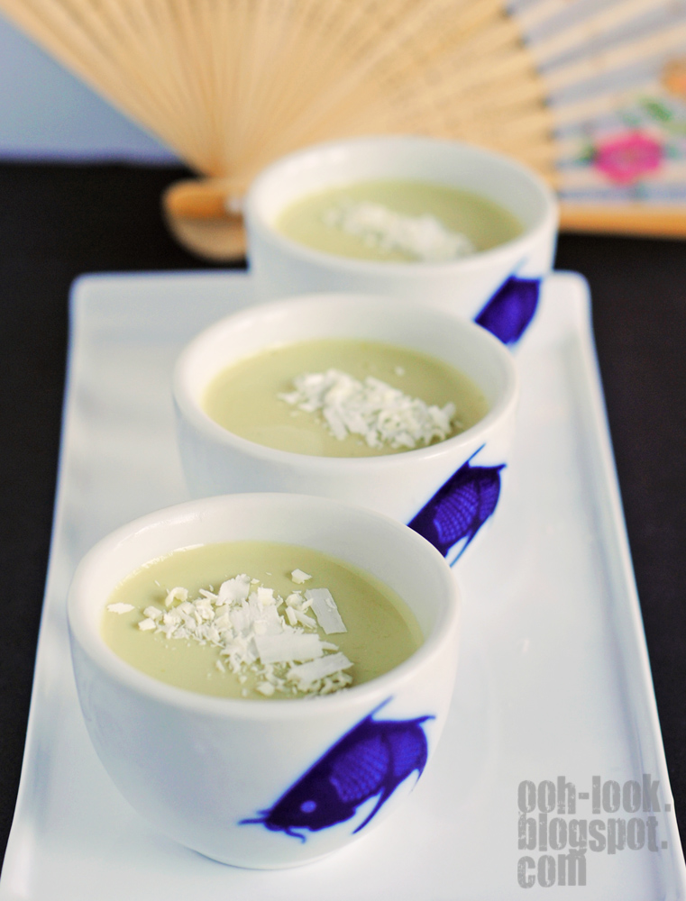 The intense green colour fades slightly as the panna cotta sets in the ...
