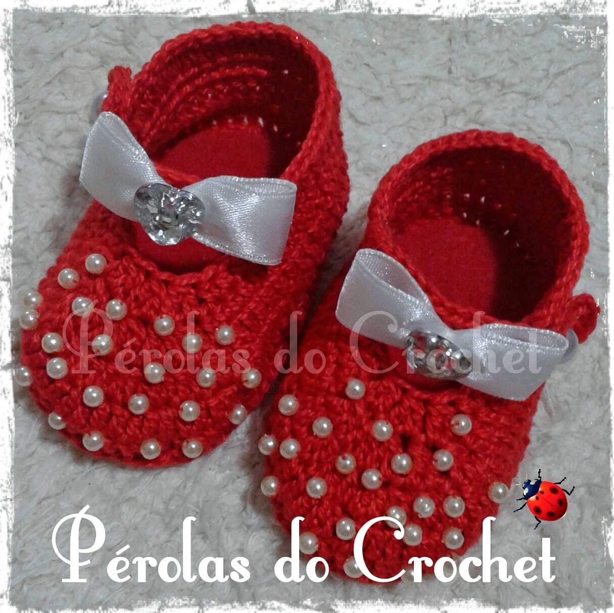 p rolas do crochet sapatinho em crochet modelo po vermelho