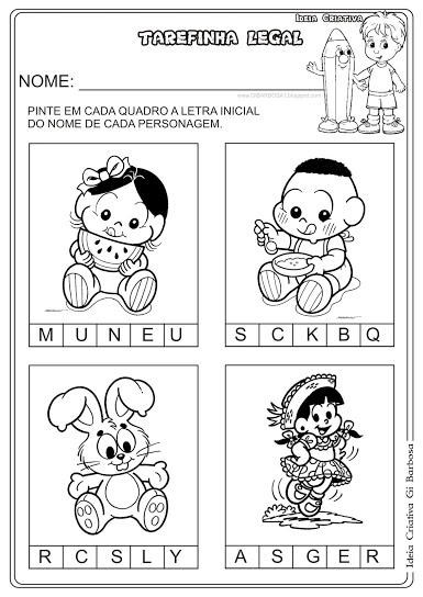 Atividade Letra Inicial Personagens Turma da Mônica