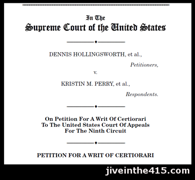 The petition to the Supreme Court in Hollingsworth v. Perry marriage equality case