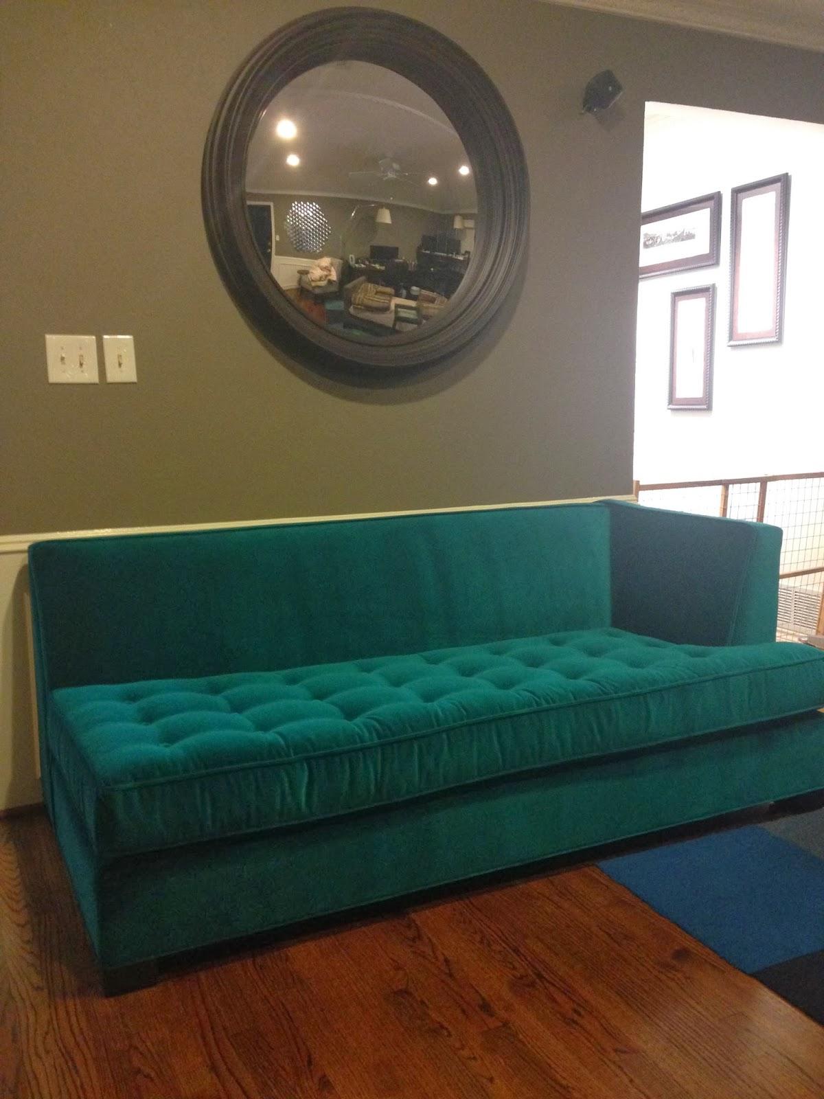 Teal Velvet Couch
