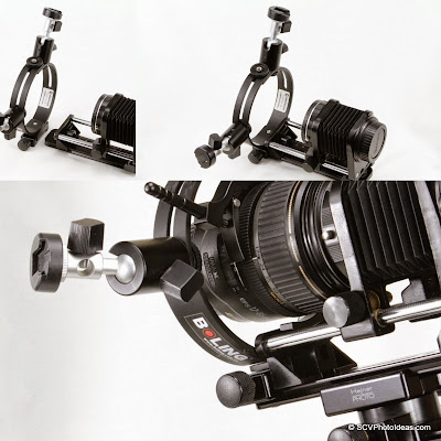 Mounting macro flash bracket on macro bellows sequence