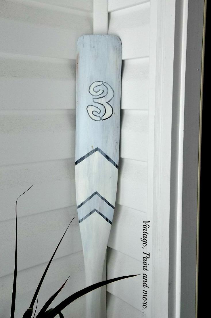 Vintage, Paint and more.. painted boat oar, stenciled boat oar, boat oar used in decor