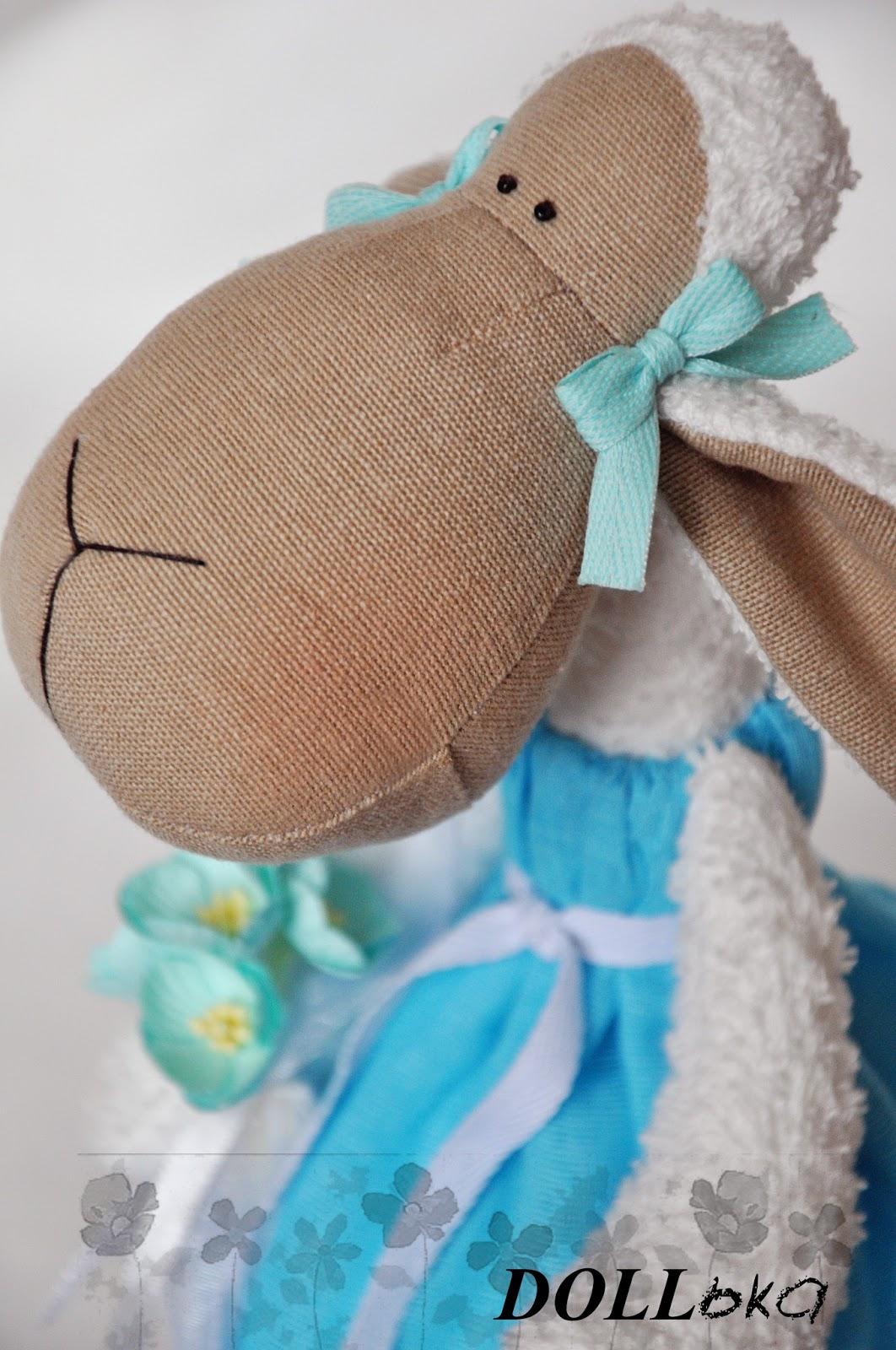 Овечка Сьюзи текстильная игрушка ручной работы