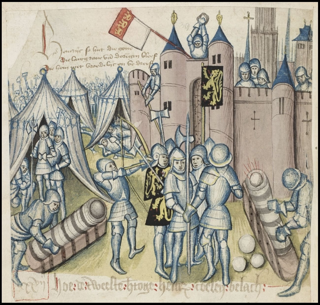 soldiers in armour lay siege to castle - illustration