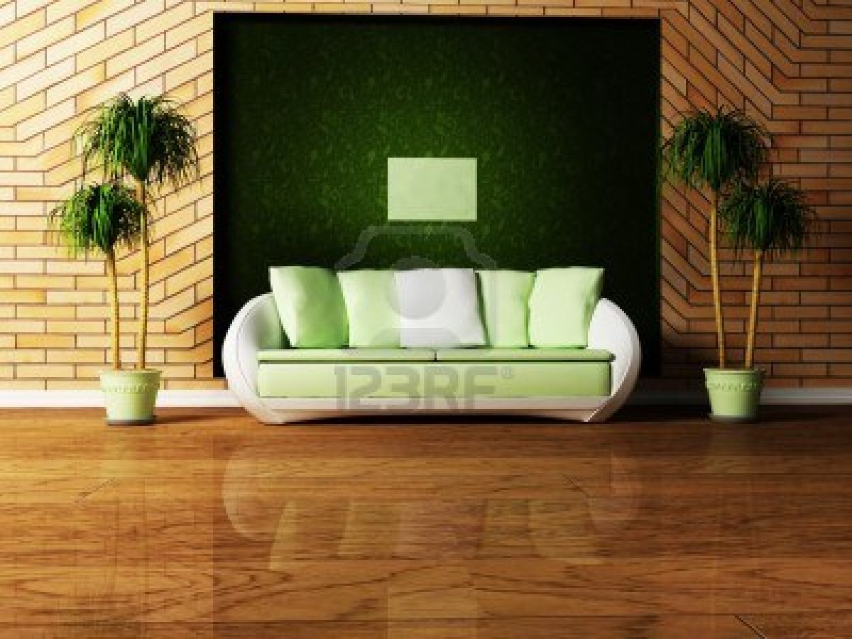 modern interior design of living room with a sofa and the plants title=