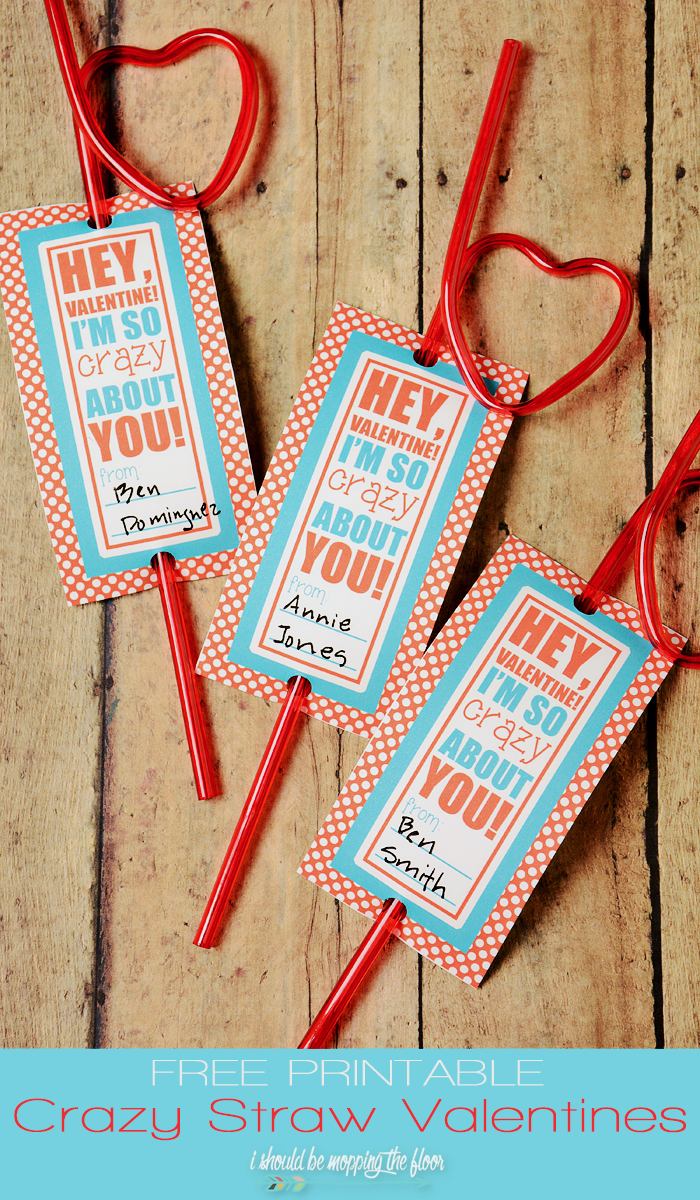 Free Printable Crazy Straw Valentines | Two sizes for big kids & little kids | Instant Downloads