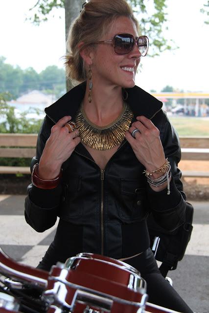 Forever 21 Vegan Leather Jacket, Stella & Dot Pegasus Necklace, Blinde Sunglasses, Luv Aj Earrings.