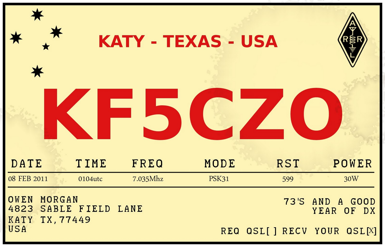 KFCZO Retro QSL Card Design - Qsl card template