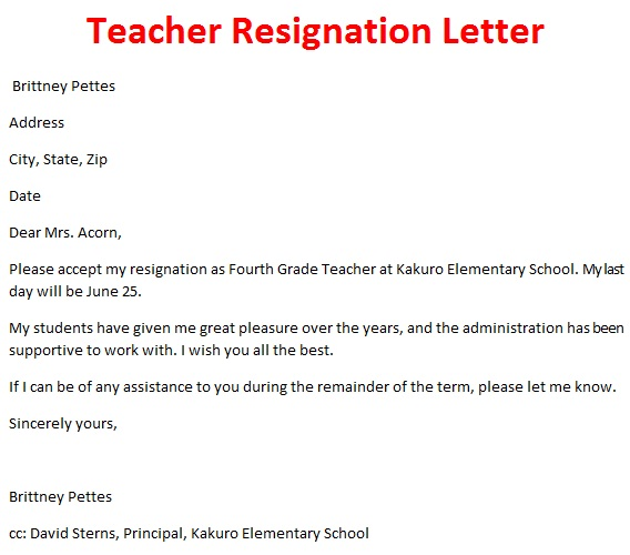 Teacher resignation letter template teacher resignation letter sample format pictures altavistaventures Images