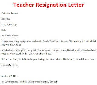 Good Teacher Resignation Letter Design