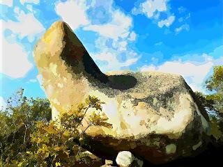 Formação rochosa conhecida como Cavalo de Pedra, em Aceguá, RS.
