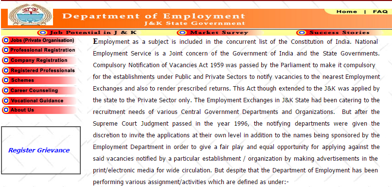 Jammu and Kashmir Job Seeker Registration and Renewal 2015