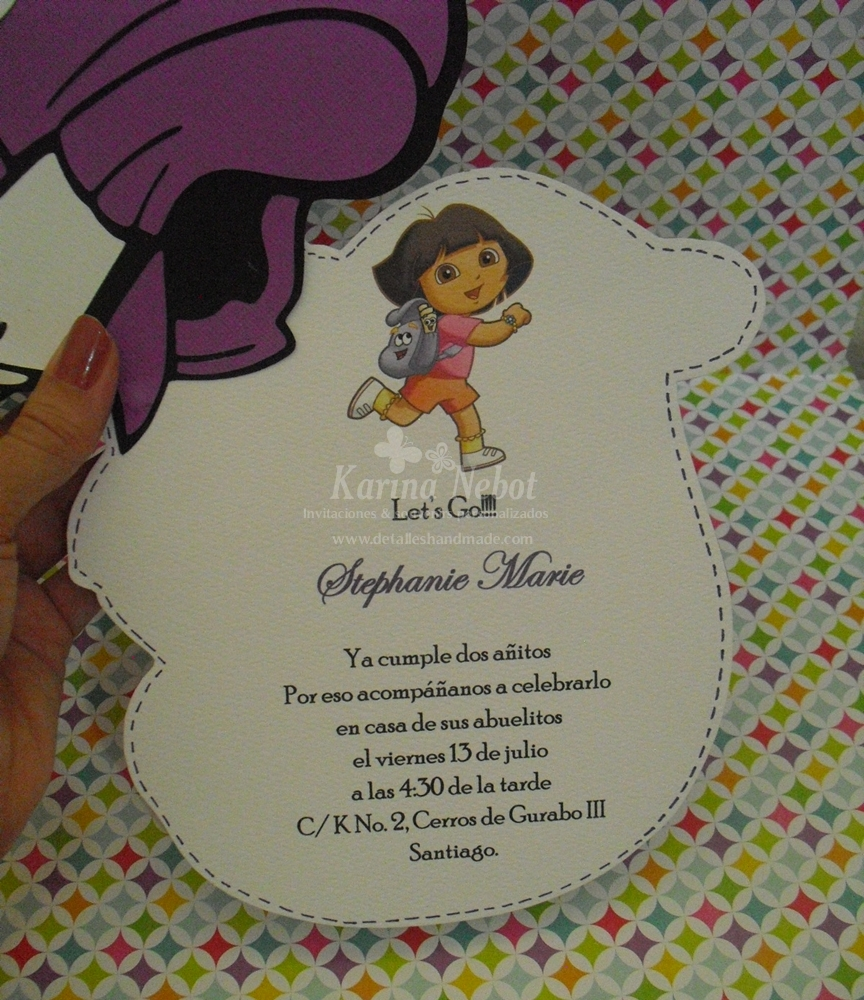 Paper Creations by Karina: Dora\'s Backpack invitations and party favors