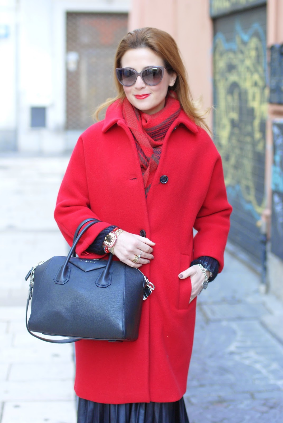 red Kiomi coat, Baracuta scarf, Givenchy Antigona bag, Fashion and Cookies, fashion blogger