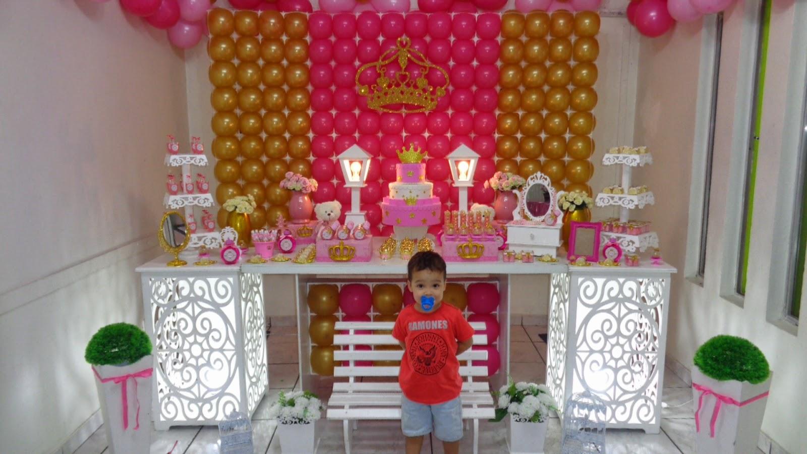 Doces Travessuras Personalizados Decoração Princesa rosa e Dourado