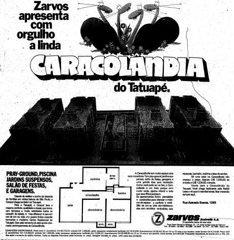 Anúncio de 1974 do empreendimento 'Caracolândia do Tatuapé'. Lançamento da Zarvo Imóveis.