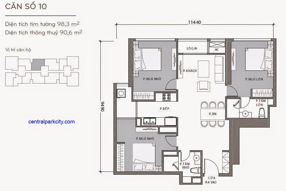 Căn hộ Landmark 2 & 3 - kiểu nhà số 10 - 98.3m2 - 3PN