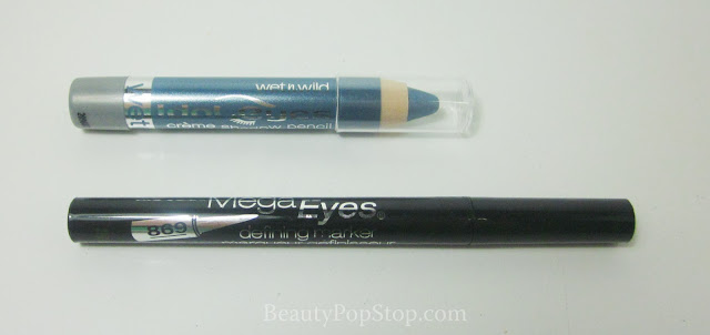 Wet n Wild Mega Eyes Defining Marker in Blackest Black and Idol Eyes Creme Shadow Pencil in Electro Swatches and Review