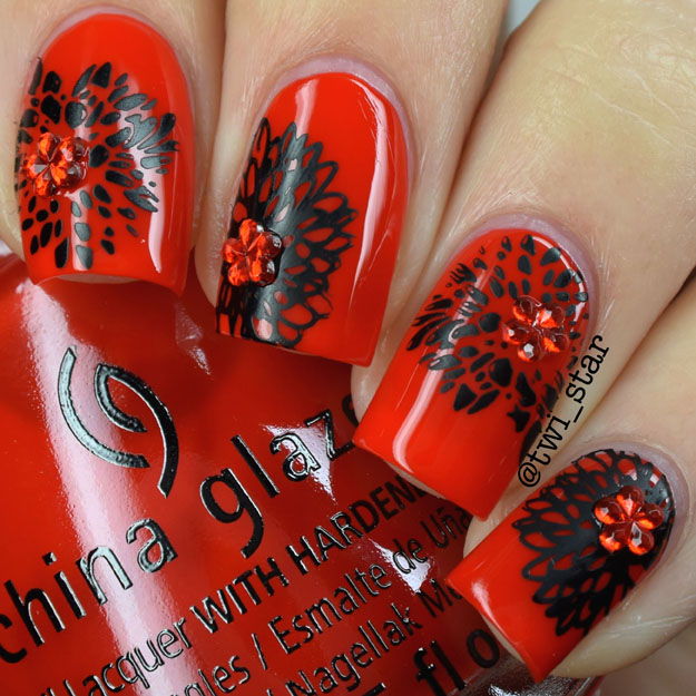 China Glaze The Heat is On flower stamping nail art