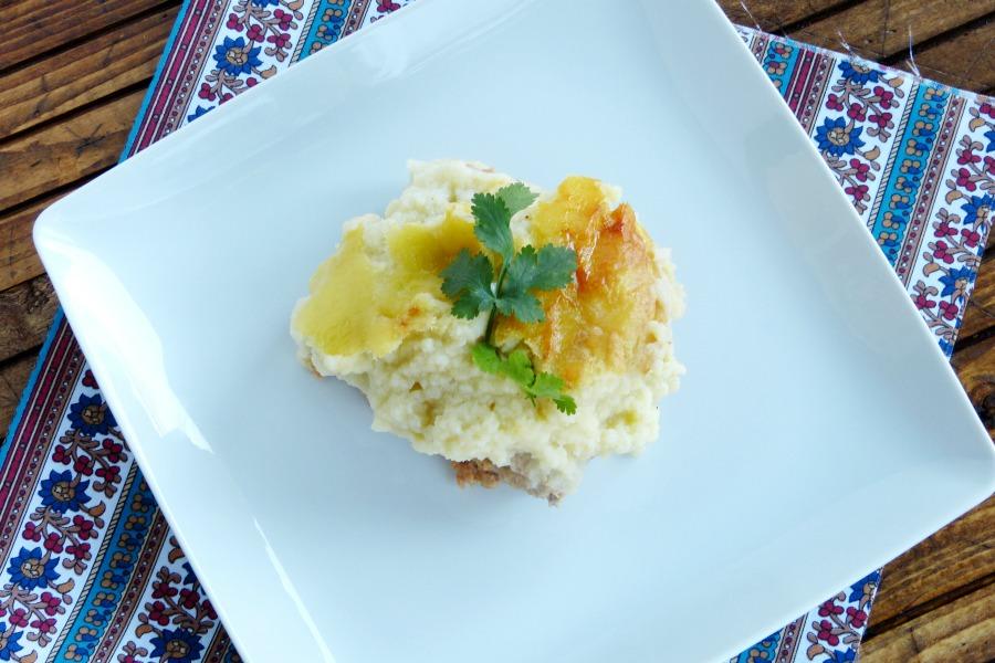 pastel de carne con puré de coliflor y patata