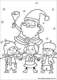 Copiii il colinda pe Mos Craciun - imagine de desenat