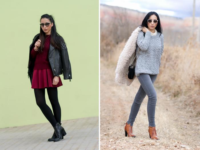Look tonos neutros con jeans grises de Meltin' Pot y abrigo de pelo artificial