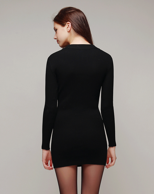 Jewel Neck Around Knit Bodycon Dress