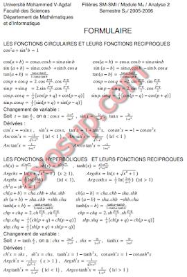 formulaire fonctions circulaires et hyperboliques et leurs réciproques