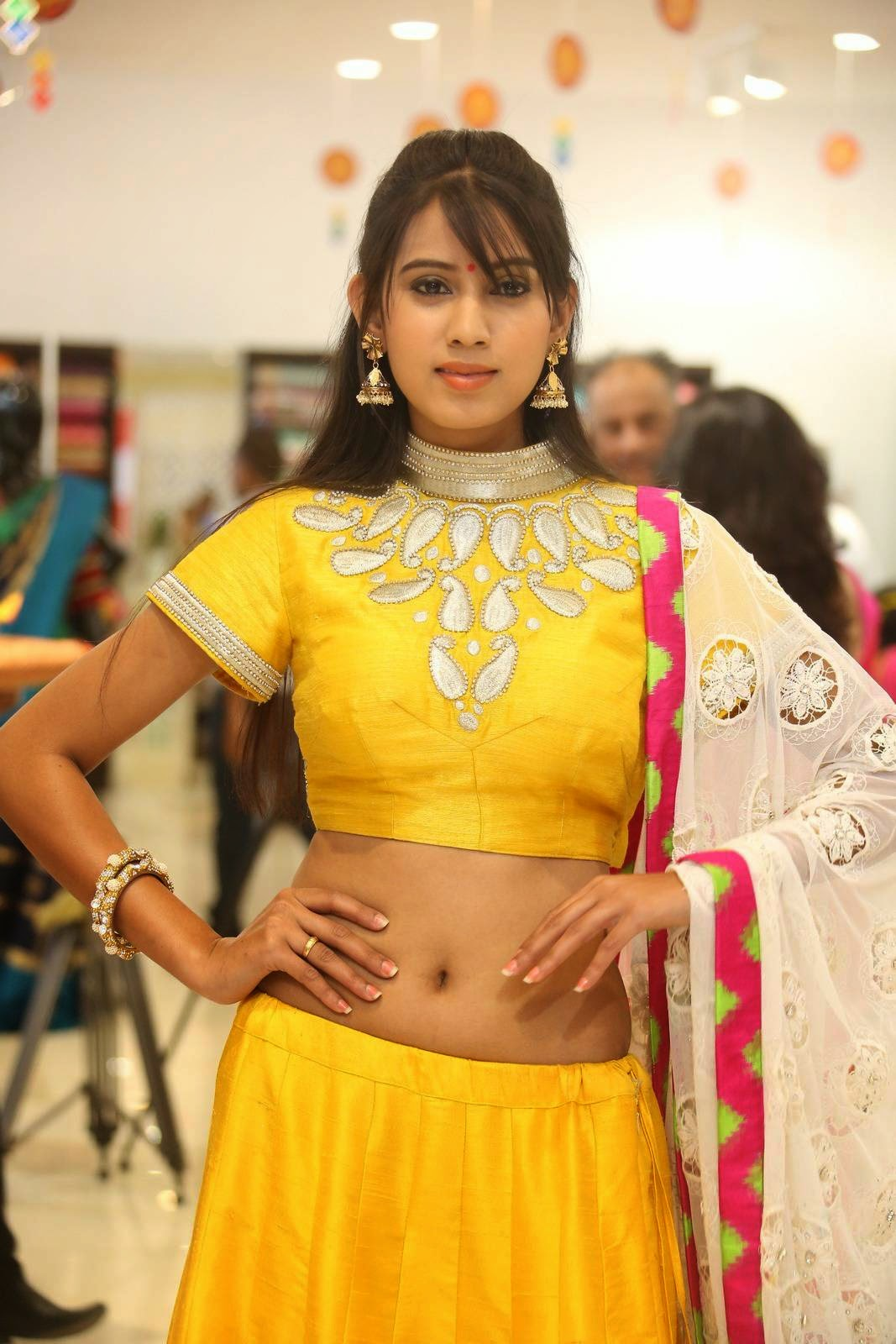 Actress Honey Latest Cute Hot Yellow Dress Navel Show Spicy Photos Gallery At Trisha Boutique Wedding Collection Launch