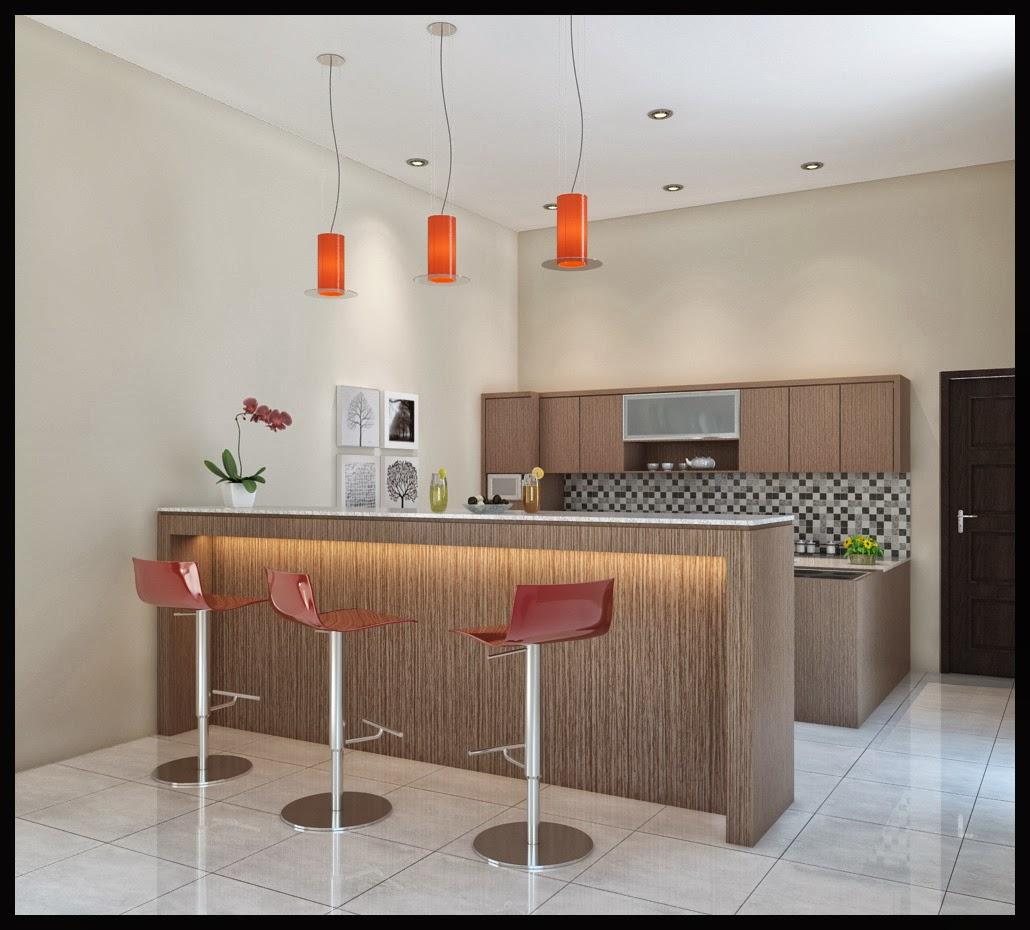 Gambar Desain Dapur Meja Kursi Bar Minimalis Gambar di