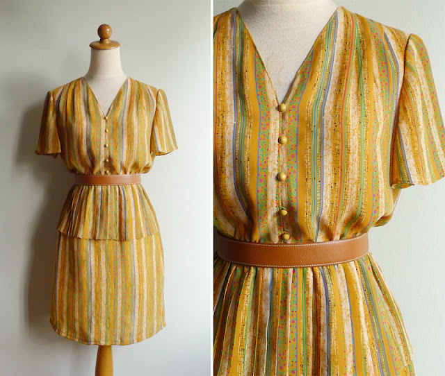 retro 80's secretary striped floral dress in polyester