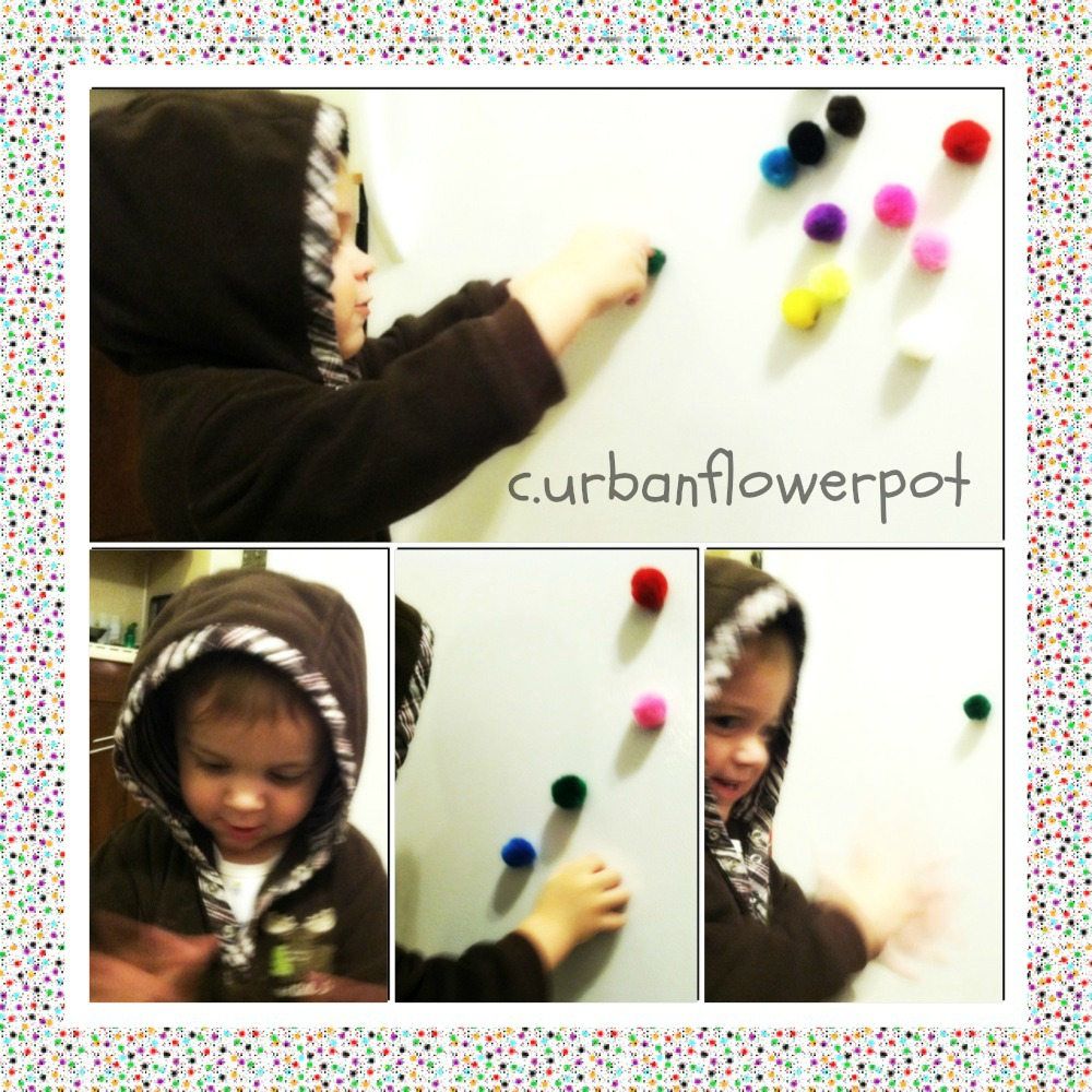 pom pom magnets, toddler activities with pom poms, fine motor activity ideas, what to do with pom poms, learn colors, texture activity